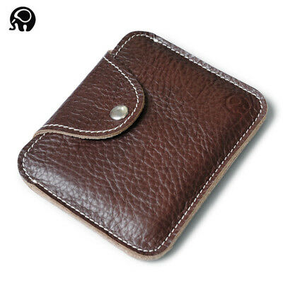 Women Men Genuine Leather Credit Card Coin Purse Mini Money Wallet Pouch