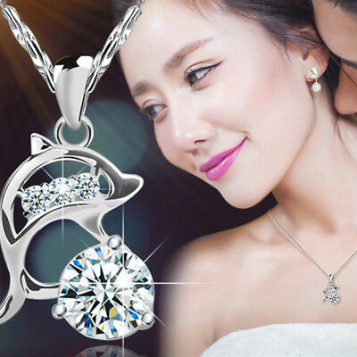 Shiny Crystal Rhinestone Cubic Zirconia Jumping Dolphin Necklace For Ladies N7
