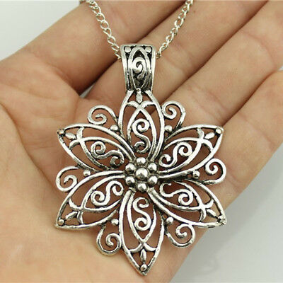 Chic Ladies Girls Boho Bohemian Hollow Out Flower Ancient Silver Necklace N7