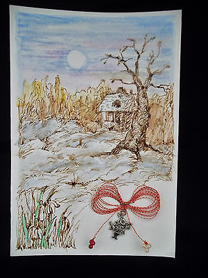 1 Martisor hand made march spring amulet RABBIT BUNNY Alice in wonderland paint