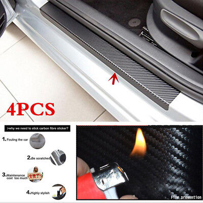 4PCS 3D Carbon Fiber Black Car Door Sill Scuff Plate Cover Anti Scratch Sticker