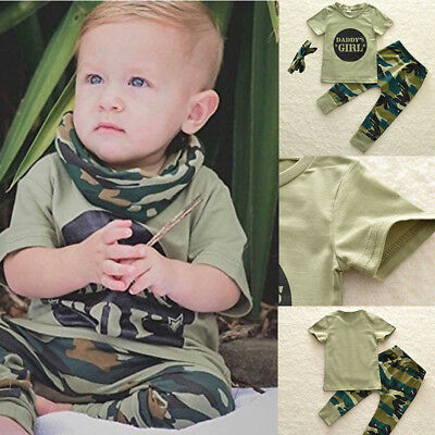 Newborn Baby Boys Girls Top Romper Camoufalge Pants 3Pcs Outfits Set Clothes UK