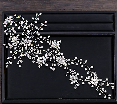 Snowflake Rhinestone Crystal Wedding Bridal Tiara Bride Silver Hair Headpiece