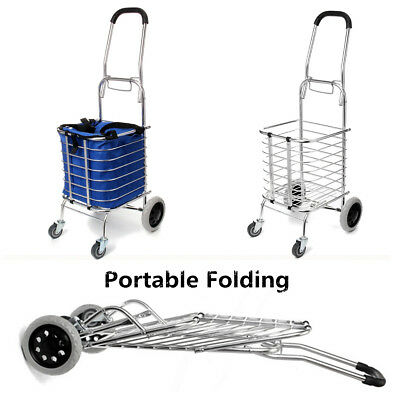 60KG Folding Portable Shopping Grocery Basket Cart Pull Trolley Trailer 4 Wheel