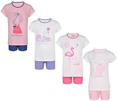 Girls Short Pyjamas Ex Store 2 Piece T Shirt Short Pj Set 2-16Y Night Wear New