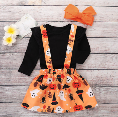 UK Girl Baby Kids Halloween 3PCs Set Tops Swing Skirt Dress Party Outfit Clothes