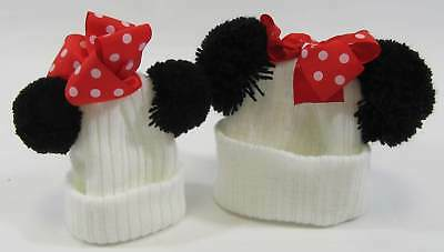 Baby Winter Bobble Hat 2 Two Pom Poms Red Polka Dot Bow Mouse Knitted NB 6 12