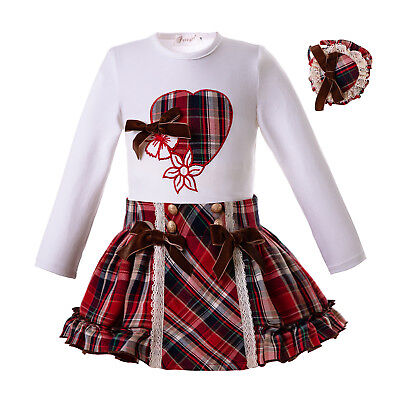 Girls Christmas Clothing Set Tartan Outfit Long Sleeve T-shirt+Plaid Skirt 3-12Y