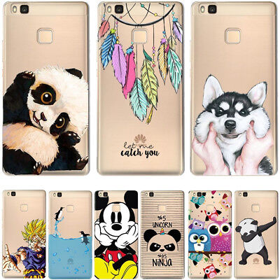 For HUAWEI P8 P9 P10 Mate10 Lite P20 Pro Soft Silicon Cartoon Cover Case Dog Owl