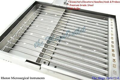 RHOTON Micro Dissector Surgical Instruments Set 15 Pieces With Sterilise Case