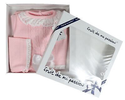 Baby Spanish Portuguese Outfits Boys Girls Knitted Gift Box Top Pants Hat Bonnet