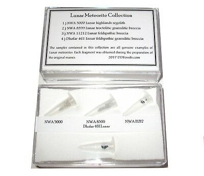 Lunar meteorite display collection Genuine moon rock dust FOUR 4 samples
