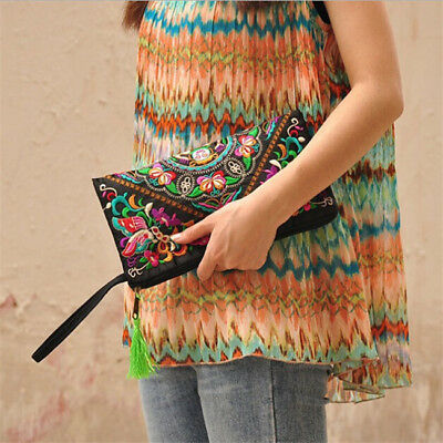 Embroidered Floral Design Lady Phone Coin Purse Zipper Tribal Long Wallet one