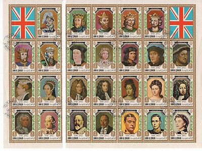 Umm Al Qiwain 1972 Issue - Kings & Queens of England - 26 Stamps MUH - CTO
