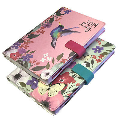A5 Diary 2019 Nature Fabric Day A Page Monthly Index Organiser Notes Present New