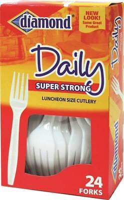 """8136764,PLASTIC CUTLERY,DAILYWARE FORKS,HEAVY-DUTY """"DIAMOND"""",,Boxed,Color=White"""