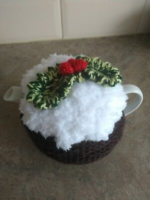 Hand-knitted Christmas Pudding tea cosy. Fits small one cup pot. Xmas decoration