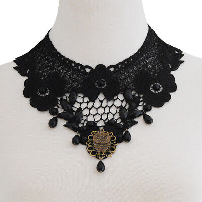 Vintage Black Lace Gothic Necklace Victorian Lolita Choker with Owl Pendant