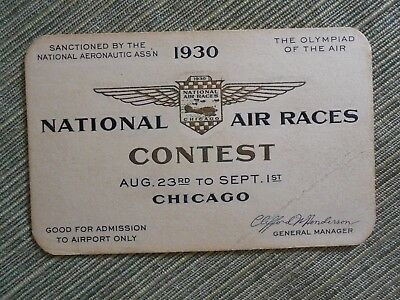 1930 National Air Races Aeronautic Assn Contest Card Ticket Chicago Airplane