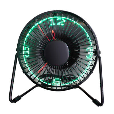 LED Clock Fan -Mini USB Powered Cooling Flashing Real Time Display Function Fan