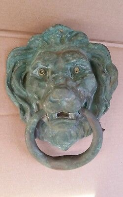 Large Heavy Antique Vintage Unique Solid Brass Like?? Lions Head Door Knocker