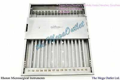 RHOTON Micro Dissector Surgical Instruments Set 19 Pieces With Sterilise Case