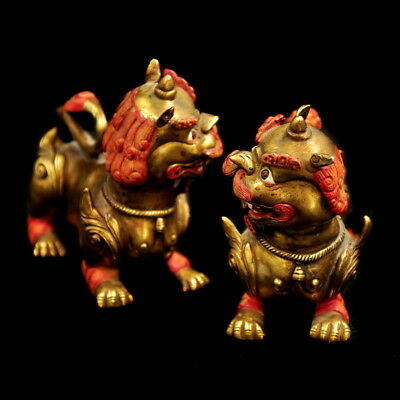 China old Antique Tibet 24k gilt handmade Mythical Animals lions Statue