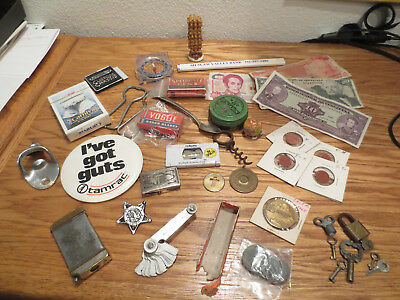 38+ VINTAGE MENS JUNK DRAWER Openers, Money, coins, tokens, Keys, matchbox, etc.