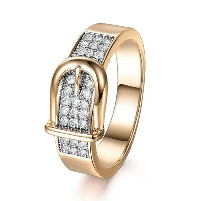 Women New Vintage White Sapphire Crystal Gold Filled Engagement Ring Jewelry