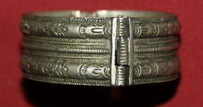 Antique Greek Silver Hand Made Folk Hinged Cuff Bracelet