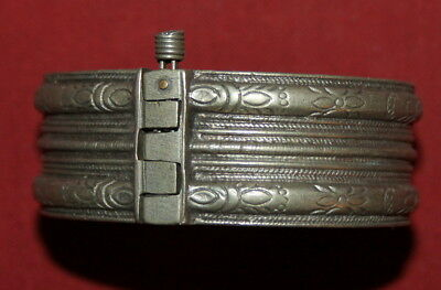 Antique Greek  Engraved Silver Hand Made Folk  Cuff Bracelet
