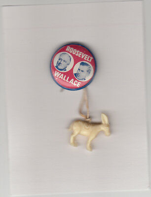 Roosevelt and Henry Wallace jugate 1940 campaign pinback with donkey