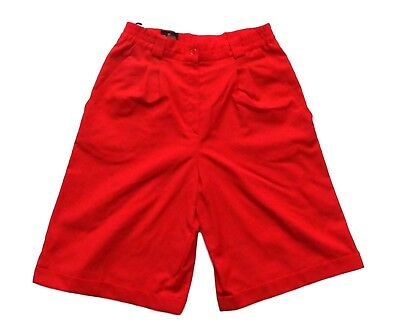 Women's Ladies Vintage 80's Red Wool High Waisted Shorts Retro Boho 12