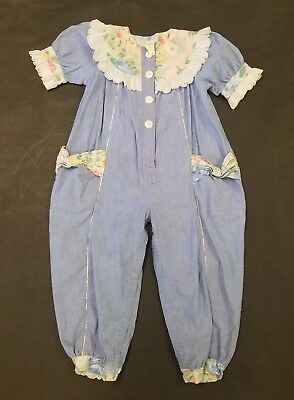 Vintage 1980s 4 Toddler Girls Floral Chambrey Smocked Bubble Romper
