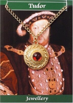 Henry VIII King Red Gem Pendant Necklace for Historic Renaissance Costume