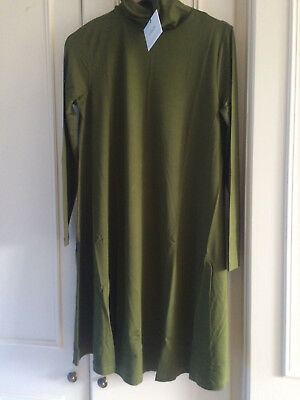 ASOS Maternity Swing Dress With High/Polo Neck & Long Sleeves ~12 UK ~ Green