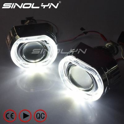 X5 Square LED Angel Eyes Devil Halo DRL Bi Xenon Lens Car Projector Headlight HI