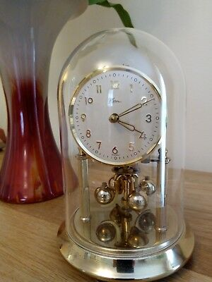 Kern Anniversary Clock. Excellent working condition. Glass Dome. App 1960's