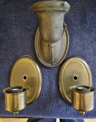 3 Brass Vintage Wall Sconces