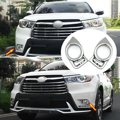 Fit For 14-16 Toyota Highlander Kluger Chrome Front Fog Light Lamp Cover Trim A