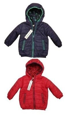 Babaluno Baby Boys Blue Red Hooded Quilted Puffa Bomber Jacket Coat Age 3 6 9 12