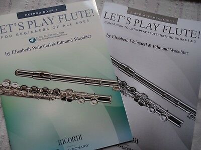 2 Hefte Flöte Let's Play Flute Method Book 2  u Piano Begleitung Method1&2 neu