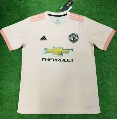 Mens Adidas Manchester United Replica Away T-Shirt Kit 18/19 Pink Personalised