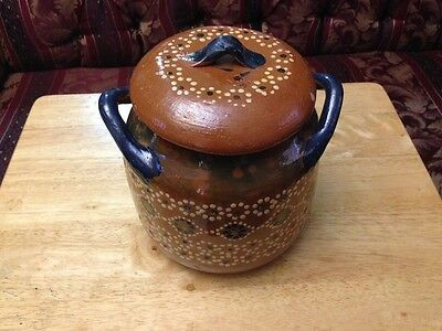 Traditional Mexican Red Clay Bean Pot