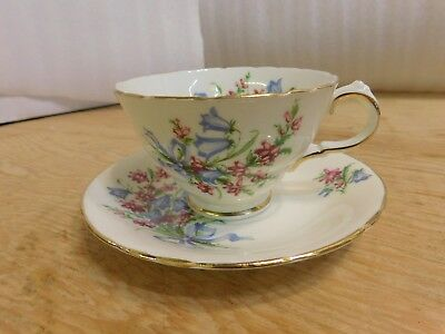 HM Sutherland White Gold Trim Blue Flowers Cup Saucer