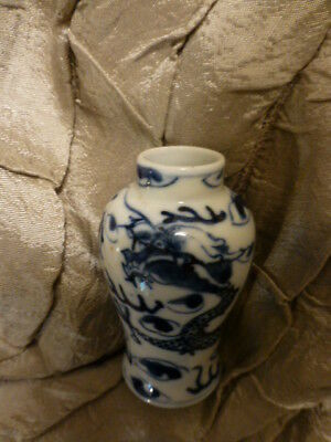 Antique Chinese Dragon Miniature vase White Blue H 8 cm