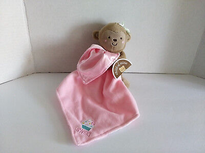 NEW Child of Mine Monkey Rattle Pink Sweet Cupcake Lovey Baby Security Blanket