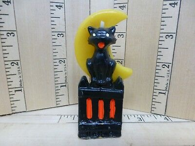 """Gurley Candle Company Black Cat Picket Fence Yellow Half Moon  3.5"""" Tall"""