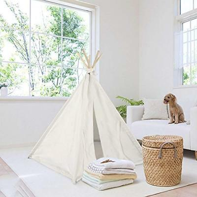 Pet Teepee Tent For Dogs Cats Foldable Portable Cotton Canvas Bed House Rabbit 5