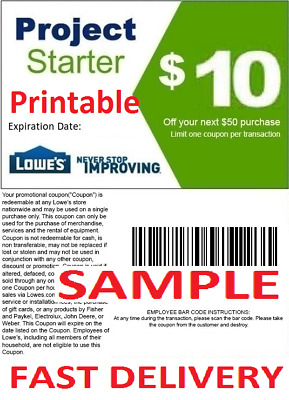 1X One Lowes $10 Off $50 Printable Discount Coupon Online or InStore FAST EMAIL